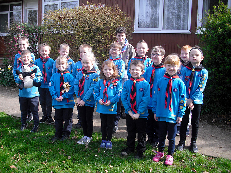 Photo of a group of Beaver Scouts standing outside the Lovell Centre.