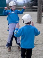 Photo of Beaver Scouts trying out the low ropes activity.