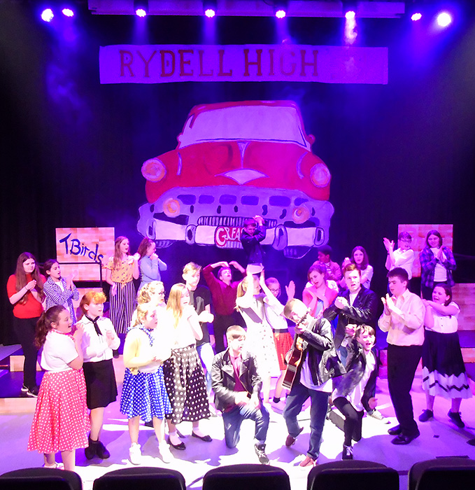 Stage production of 'Grease' at Abbeywood Community School.