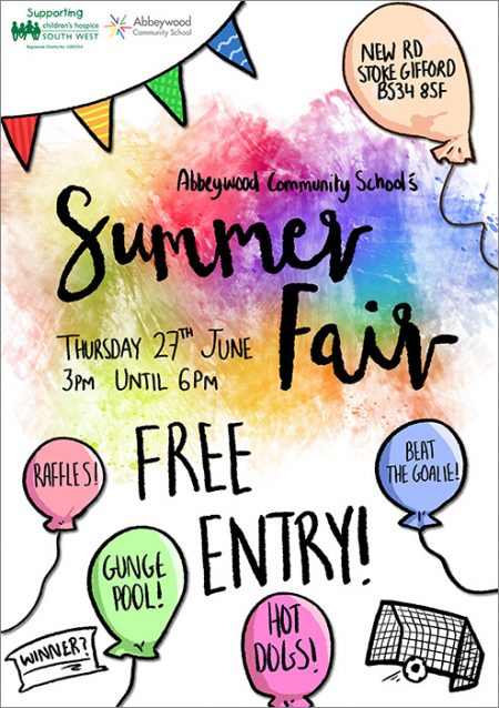 Poster promoting Abbeywood Community School's Summer Fair.