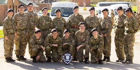 Photo of a group of Stoke Gifford Army Cadets with the drill competition winners' shield.