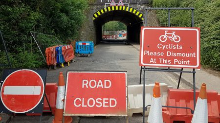 Photo of Gipsy Patch Lane railway bridge on 24th June, 21 days into the closure.