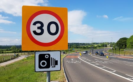 Photo of a 30mph speed limit sign on the Stoke Gifford By-Pass (May 2019).