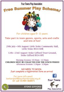 Poster giving details of the play scheme in Little Stoke and Stoke Gifford.