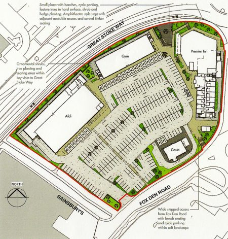 Plan of Aviva Investor's proposals for retail development at Fox Den Road, Stoke Gifford.