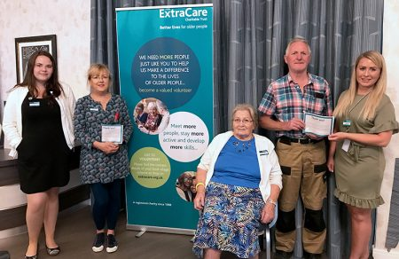 Photo of volunteer award winners at Stoke Gifford Retirement Village