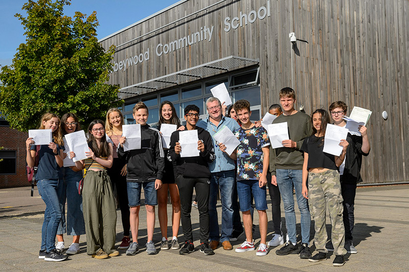 Photo of GCSE students with members of staff.