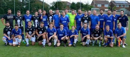 Photo of the teams in the 2019 Ben Hiscox memorial match.