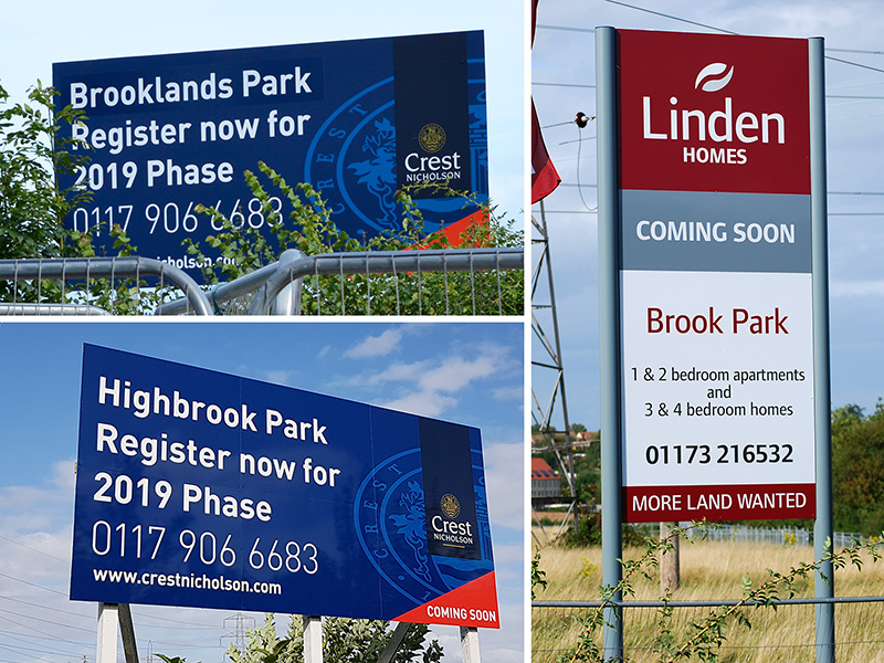 A collage of signs advertising various housing developments at Harry Stoke.