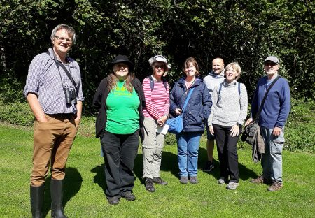 Photo of an organised walk in Meade Park led by local ecologist Rupert Higgins.