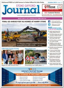 October 2019 issue of the Stoke Gifford Journal news magazine.