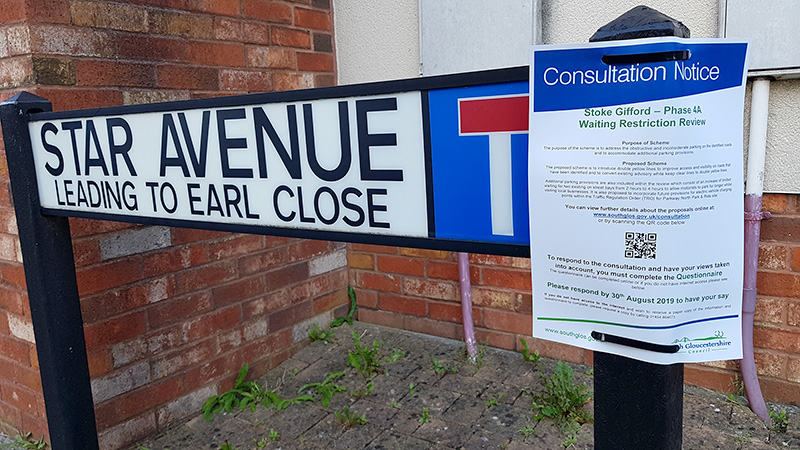 Photo of a notice advertising the consultation.