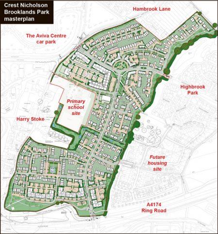 Crest Nicholson Brooklands Park masterplan.