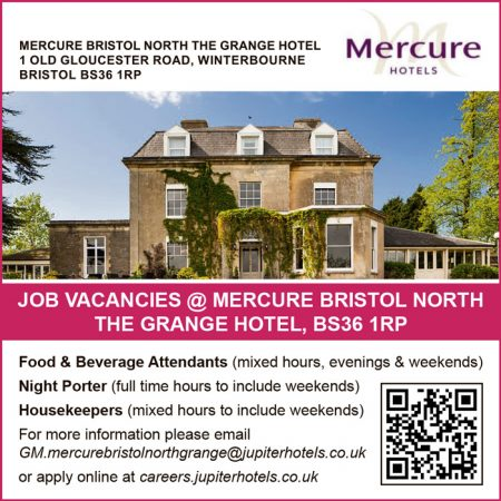 Job vacancies at Mercure Bristol North The Grange Hotel.