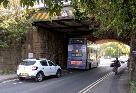 Photo of a number 19A bus jammed under Bristol Parkway railway bridge on 10th September 2019.