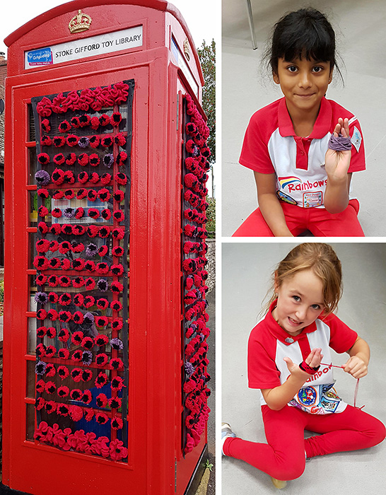 Photo of Stoke Gifford Toy Library decorated with poppies made by Rainbow Guides.