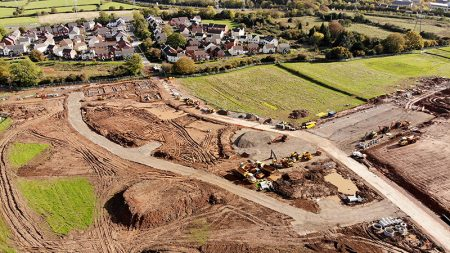 Aerial view of Crest Nicholson's Brooklands Park housing development at Harry Stoke.