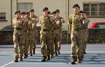 Photo of detachment members take part in a drill competition.