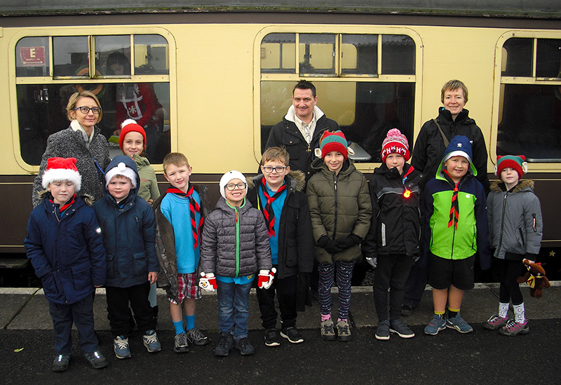 Photo of Beaver Scouts ready to board the Santa Express.