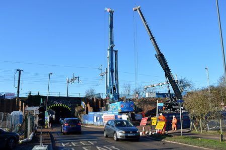Photo of piling work taking place on the north-east corner of the bridge.