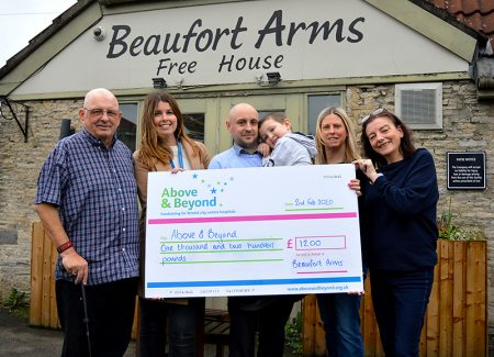 Photo of the charity cheque presentation.