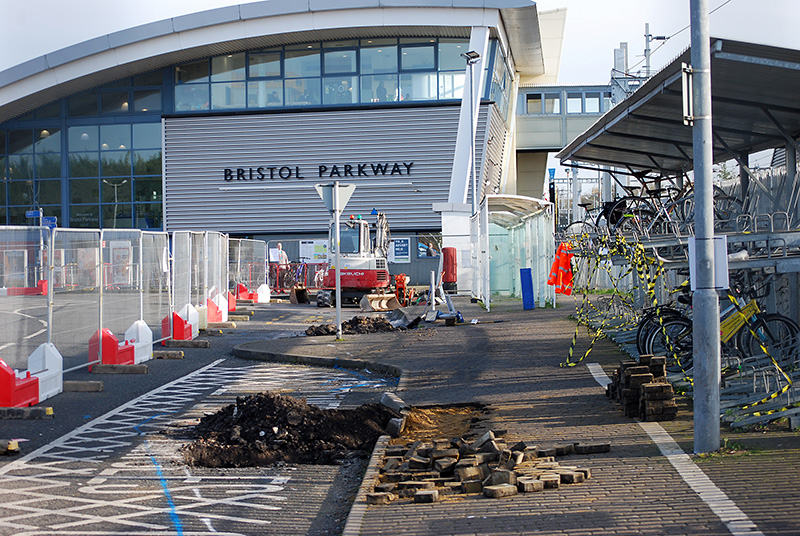Photo of Improvement works at the bus stops under way in early February.