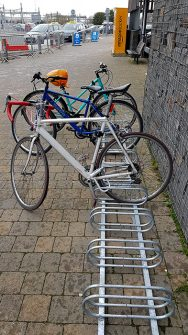 Photo of a temporary bike rack.