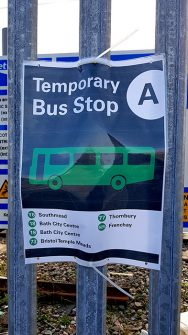 Photo of a temporary bus stop sign.