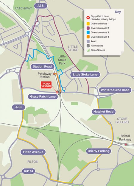 Map showing diversion routes for pedestrians and cyclists.