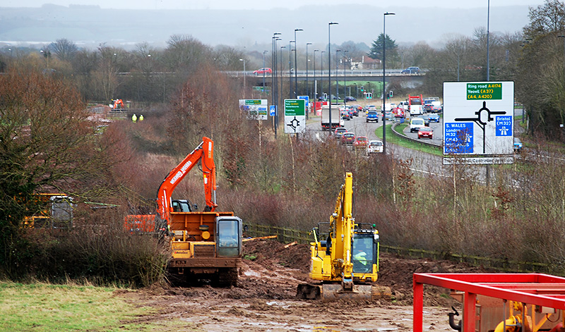 Photo showing preparations for electricity power line undergrounding taking place alongside the A4174.