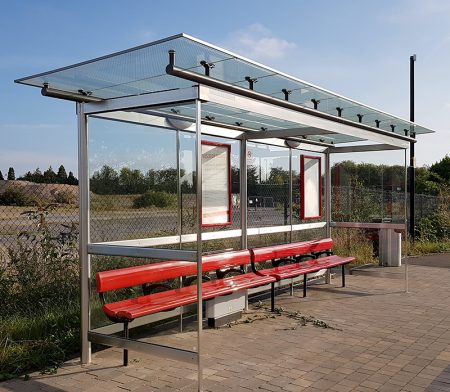 Photo of a MetroBus stop on Hunts Ground Road.