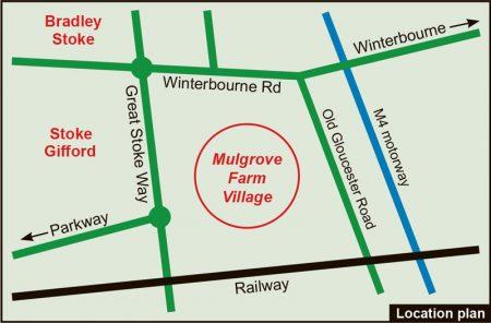 Map showing location of Mulgrove Farm Village.