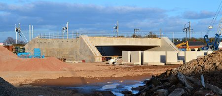 Photo of the new railway bridge under construction in the Alun Griffiths site compound.