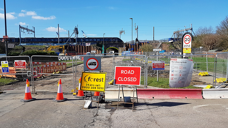 Photo of the east side of the existing railway bridge during the road closure in March 2020.