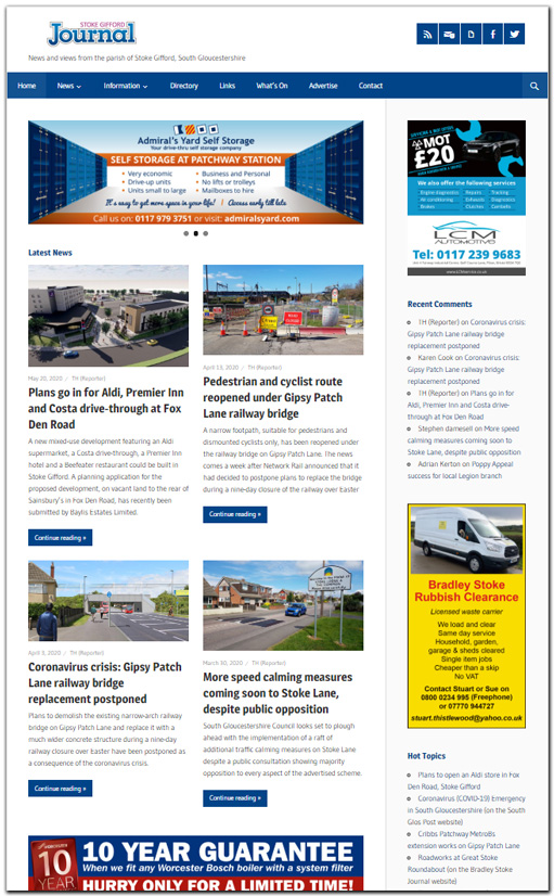Screenshot of the Stoke Gifford Journal website.