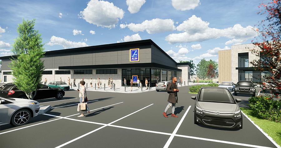 View of the proposed Aldi store (artist's impression).
