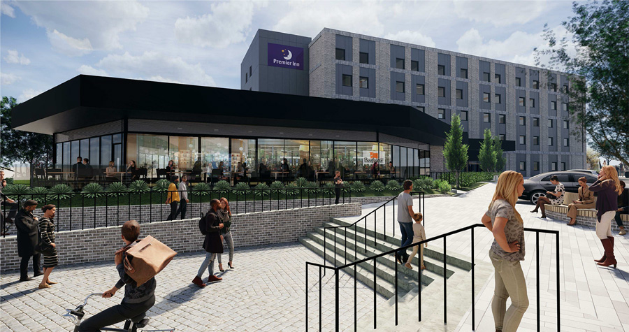 View of Premier Inn hotel and Beefeater restaurant (artist's impression).