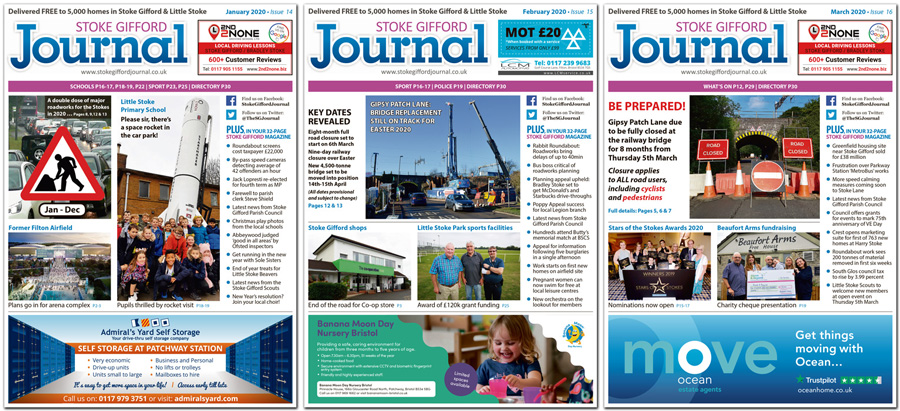 Collage showing front covers of three issues of the Stoke Gifford Journal magazine.