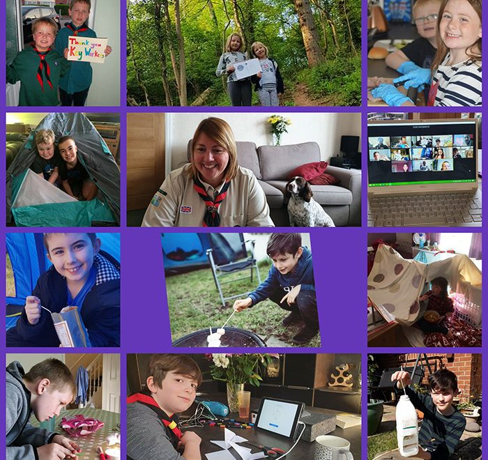 Collage showing members of 1st Little Stoke Scout Group taking part in activities during the coronavirus lockdown.