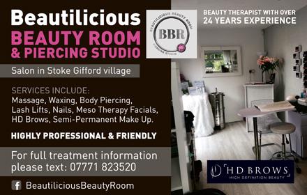Beautilicious Beauty Room & Piercing Studio, Stoke Gifford, Bristol.