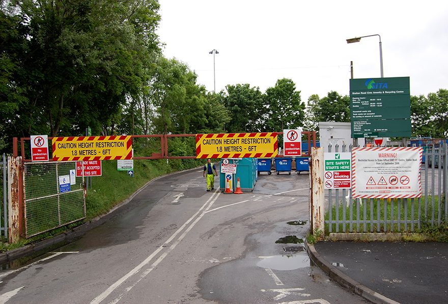 Photo showing the entrance to Little Stoke Sort It recycling centre.