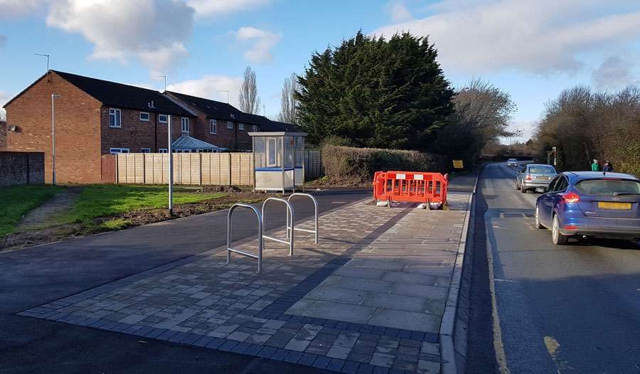 Photo of the northbound bus stop (part-finished).