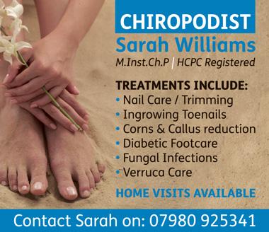 Sarah Williams, Chiropodist in Stoke Gifford, north Bristol.
