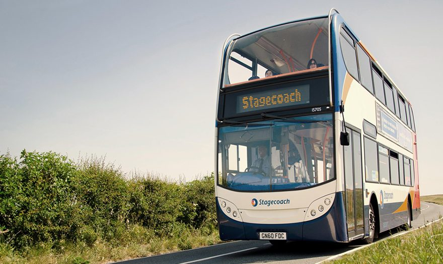 Photo of a Stagecoach double-decker bus on a rural road.