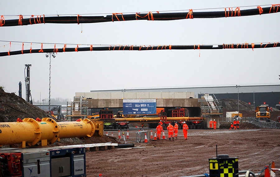 Photo showing the new bridge about to be brought in.