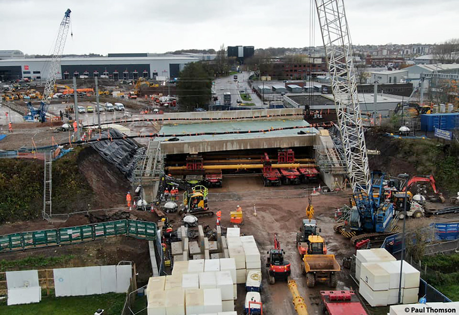 Aerial photo of new bridge in final position, viewed from east (Little Stoke) side.