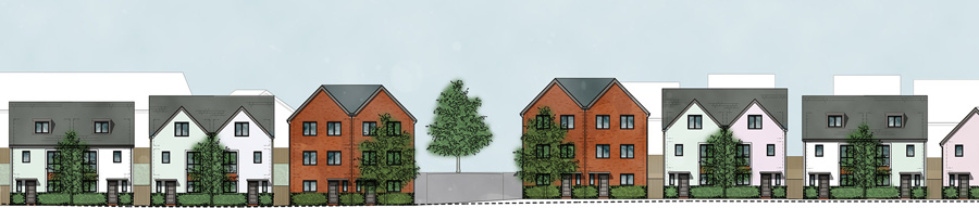 Artist's impression of frontages along the by-pass.