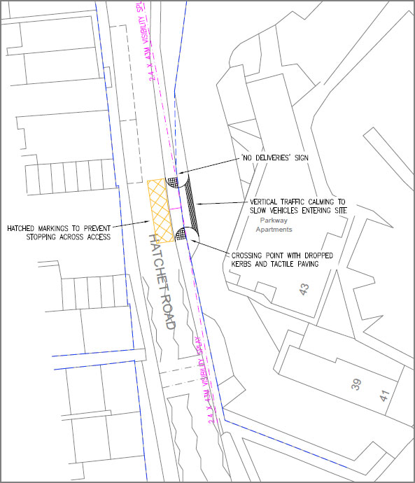 Plan of proposed new access.