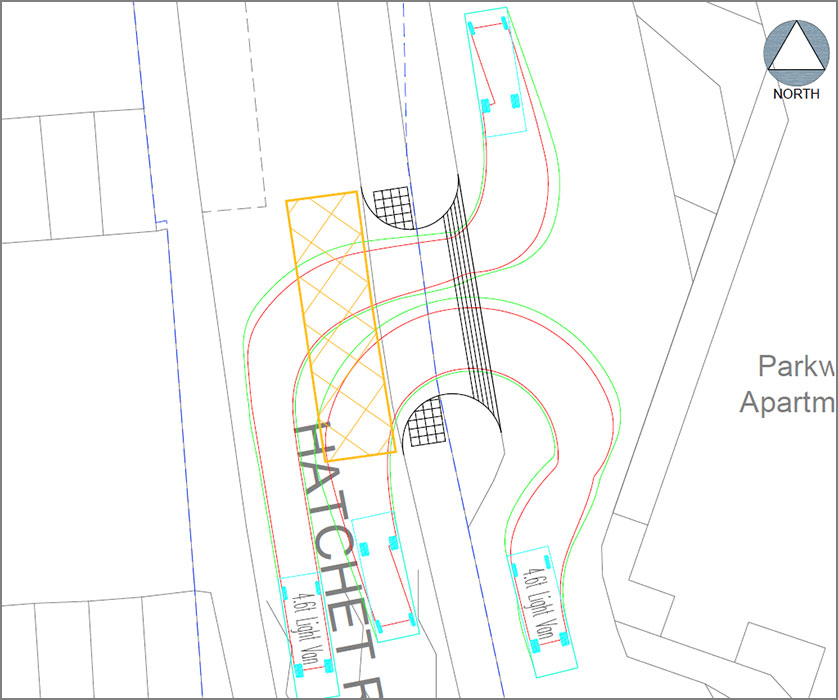 Plan showing vehicle tracking (right in, left out).