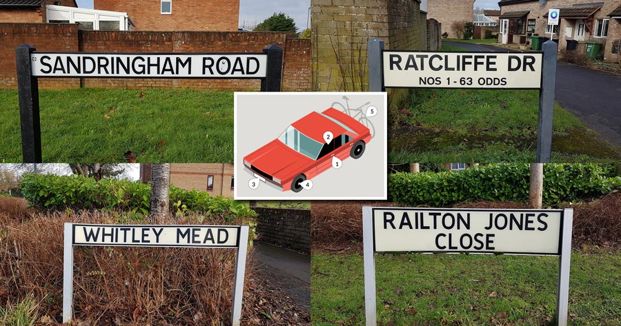 Collage of street signs.